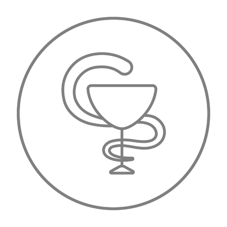 snake and a bowl: A snake and a bowl line icon for web, mobile and infographics. Vector grey thin line icon in the circle isolated on white background. Illustration