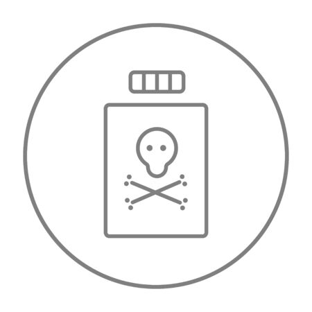poison bottle: Bottle of poison line icon for web, mobile and infographics. Vector grey thin line icon in the circle isolated on white background. Illustration