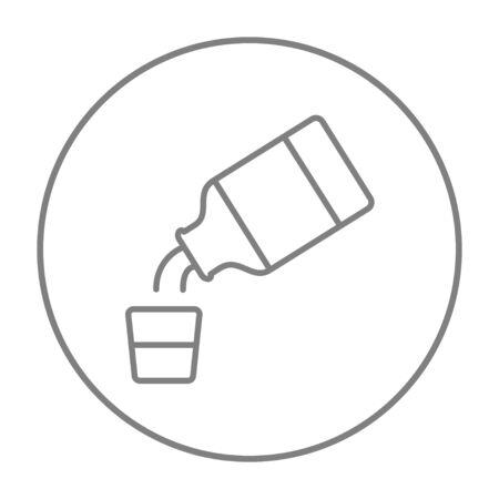 Geneeskunde en maatbeker lijn pictogram voor web, mobiel en infographics. Vector grijze dunne lijn pictogram in de cirkel op een witte achtergrond.