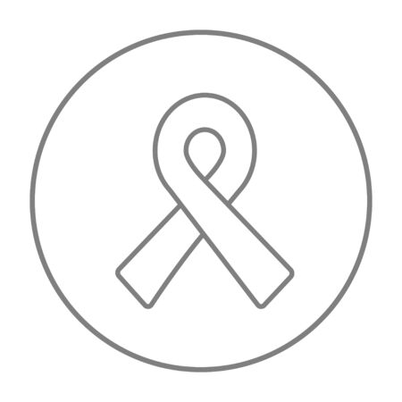fund world: Ribbon line icon for web, mobile and infographics. Vector grey thin line icon in the circle isolated on white background.