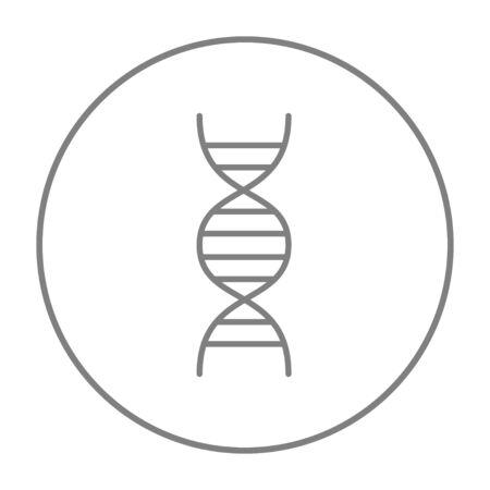 DNA-lijn pictogram voor web, mobiel en infographics. Vector grijs dun lijnpictogram in de cirkel die op witte achtergrond wordt geïsoleerd. Stock Illustratie