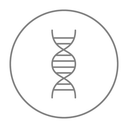 genomes: DNA line icon for web, mobile and infographics. Vector grey thin line icon in the circle isolated on white background.
