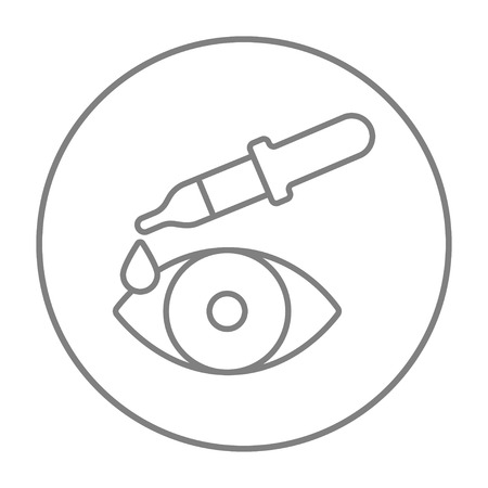 eye pipette: Pipette and eye line icon for web, mobile and infographics. Vector grey thin line icon in the circle isolated on white background.