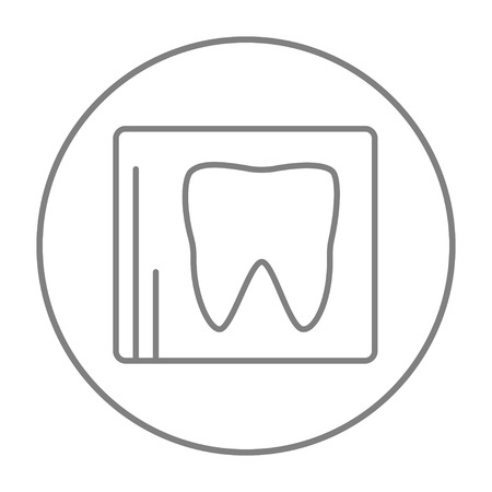 x ray equipment: X-ray of the tooth line icon for web, mobile and infographics. Vector grey thin line icon in the circle isolated on white background.