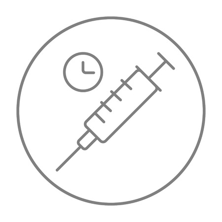 Syringe with clock line icon for web, mobile and infographics. Vector grey thin line icon in the circle isolated on white background.