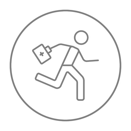 Paramedic running with first aid kit line icon for web, mobile and infographics. Vector grey thin line icon in the circle isolated on white background. Illustration