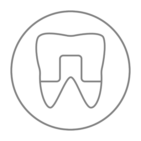 Crowned tooth line icon for web, mobile and infographics. Vector grey thin line icon in the circle isolated on white background.