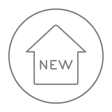 grey: New house line icon for web, mobile and infographics. Vector grey thin line icon in the circle isolated on white background. Illustration