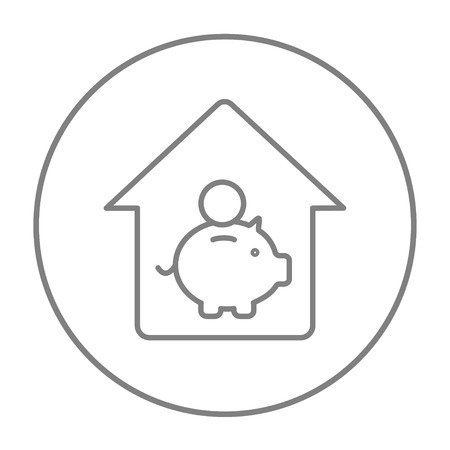 House savings line icon for web, mobile and infographics. Vector grey thin line icon in the circle isolated on white background.