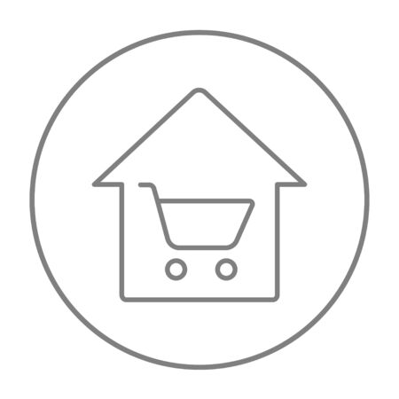 house shopping: House shopping line icon for web, mobile and infographics. Vector grey thin line icon in the circle isolated on white background.