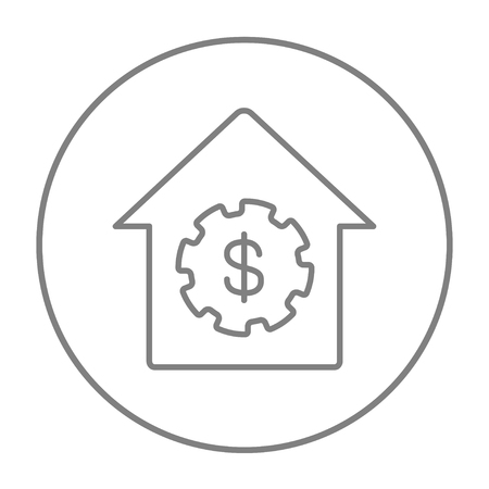 House with dollar symbol line icon for web, mobile and infographics. Vector grey thin line icon in the circle isolated on white background.