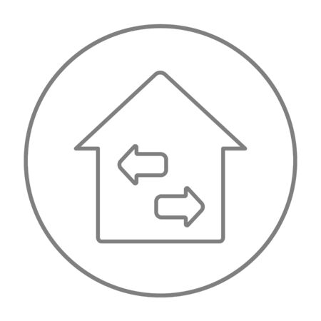 resale: Property resale line icon for web, mobile and infographics. Vector grey thin line icon in the circle isolated on white background.