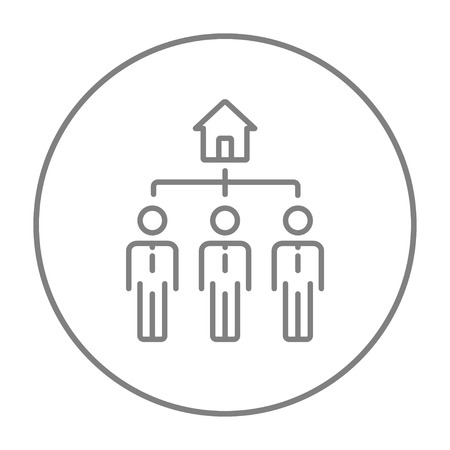 possession: Three real estate agents line icon for web, mobile and infographics. Vector grey thin line icon in the circle isolated on white background.