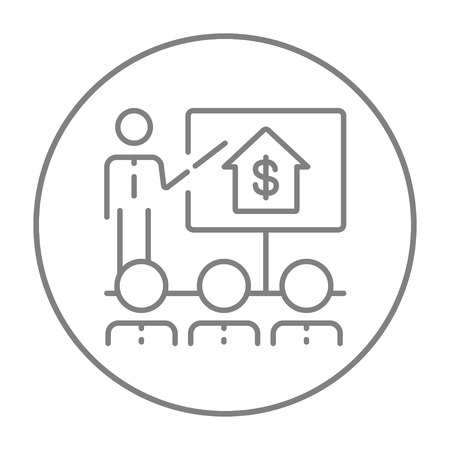 Real estate training line icon for web, mobile and infographics. Vector grey thin line icon in the circle isolated on white background. Çizim