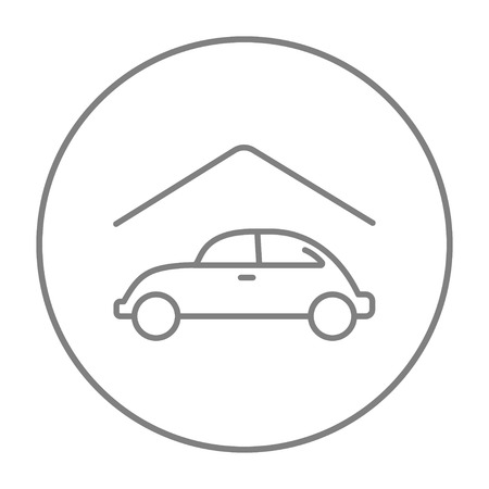 parked: Car garage line icon for web, mobile and infographics. Vector grey thin line icon in the circle isolated on white background.