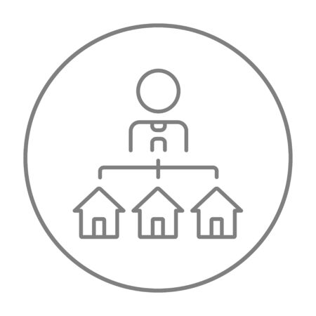 renter: Real estate agent with three houses line icon for web, mobile and infographics. Vector grey thin line icon in the circle isolated on white background.