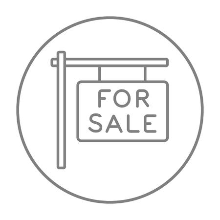 Te koop aanplakbiljet lijn pictogram voor web, mobiel en infographics. Vector grijze dunne lijn pictogram in de cirkel op een witte achtergrond.