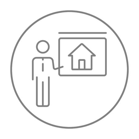 demonstrate: Real estate agent showing the house line icon for web, mobile and infographics. Vector grey thin line icon in the circle isolated on white background.