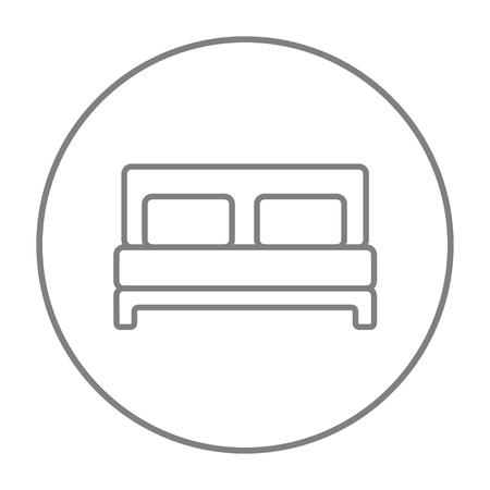 twin bed: Double bed line icon for web, mobile and infographics. Vector grey thin line icon in the circle isolated on white background.