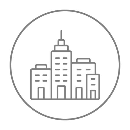 multi storey: Residential buildings line icon for web, mobile and infographics. Vector grey thin line icon in the circle isolated on white background. Illustration