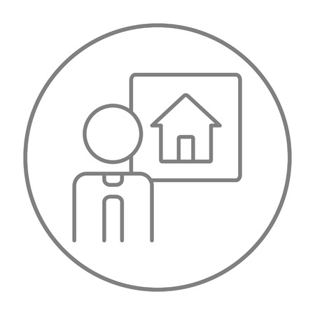 renter: Real estate agent line icon for web, mobile and infographics. Vector grey thin line icon in the circle isolated on white background.
