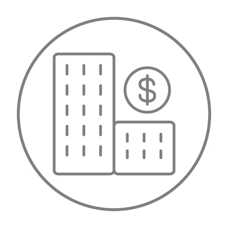 condominium: Condominium with dollar symbol line icon for web, mobile and infographics. Vector grey thin line icon in the circle isolated on white background.