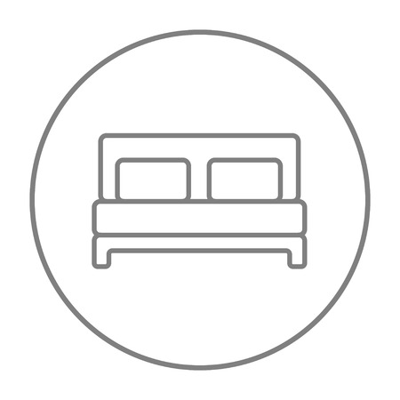 lying in bed: Double bed line icon for web, mobile and infographics. Vector grey thin line icon in the circle isolated on white background.