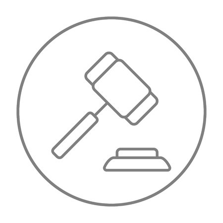 auction gavel: Auction gavel line icon for web, mobile and infographics. Vector grey thin line icon in the circle isolated on white background. Illustration