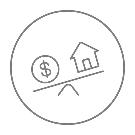 weigher: House and dollar symbol on scales line icon for web, mobile and infographics. Vector grey thin line icon in the circle isolated on white background. Illustration