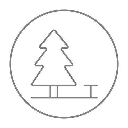 paysage: Landscape line icon for web, mobile and infographics. Vector grey thin line icon in the circle isolated on white background.