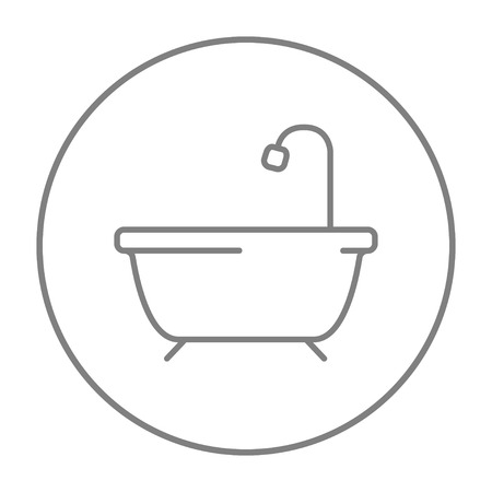 Bathtub with shower line icon for web, mobile and infographics. Vector grey thin line icon in the circle isolated on white background.