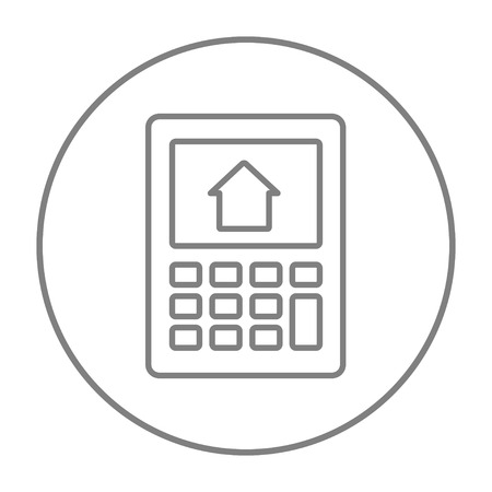 Calculator with house on display line icon for web, mobile and infographics. Vector grey thin line icon in the circle isolated on white background.