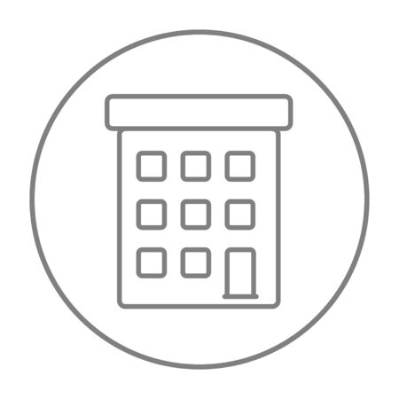 Condominium building line icon for web, mobile and infographics. Vector grey thin line icon in the circle isolated on white background.