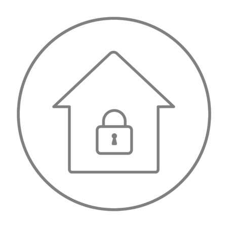 safeness: House with a closed lock line icon for web, mobile and infographics. Vector grey thin line icon in the circle isolated on white background. Illustration