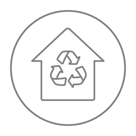 House with recycling symbol line icon for web, mobile and infographics. Vector grey thin line icon in the circle isolated on white background.