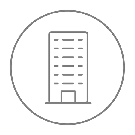multi storey: Residential building line icon for web, mobile and infographics. Vector grey thin line icon in the circle isolated on white background.