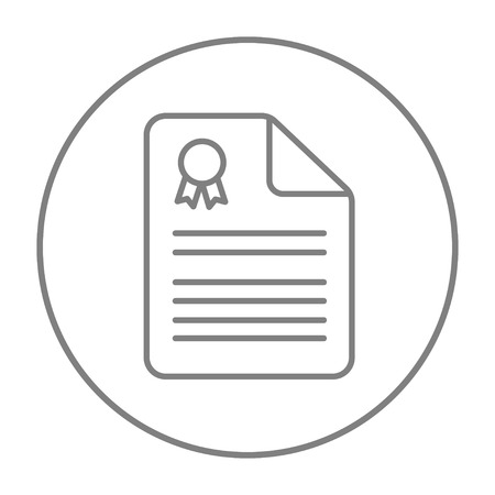 resident: Real estate contract line icon for web, mobile and infographics. Vector grey thin line icon in the circle isolated on white background.