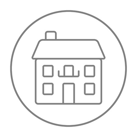 detached house: Two storey detached house line icon for web, mobile and infographics. Vector grey thin line icon in the circle isolated on white background. Illustration