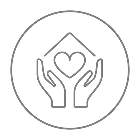 hands holding house: Hands holding house symbol with heart shape line icon for web, mobile and infographics. Vector grey thin line icon in the circle isolated on white background.