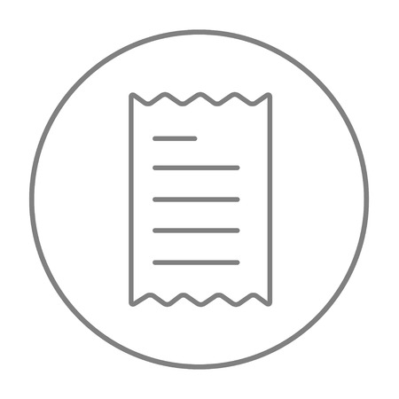 receipt: Receipt line icon for web, mobile and infographics. Vector grey thin line icon in the circle isolated on white background. Illustration