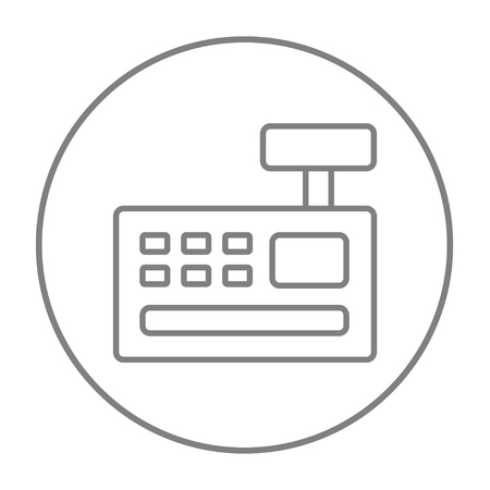 check out: Cash register machine line icon for web, mobile and infographics. Vector grey thin line icon in the circle isolated on white background. Illustration