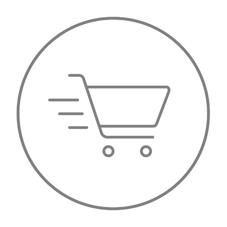 Shopping cart line icon for web, mobile and infographics. Vector grey thin line icon in the circle isolated on white background.