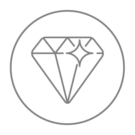 adamant: Diamond line icon for web, mobile and infographics. Vector grey thin line icon in the circle isolated on white background.