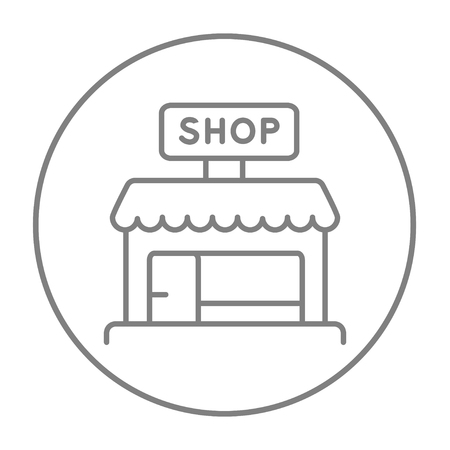 awnings: Shop line icon for web, mobile and infographics. Vector grey thin line icon in the circle isolated on white background. Illustration