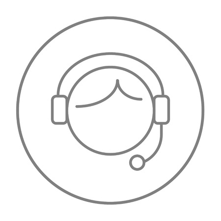 Operator of customer service line icon for web, mobile and infographics. Vector grey thin line icon in the circle isolated on white background. Illustration