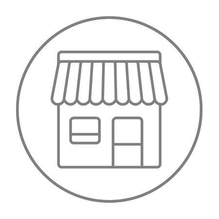 awnings windows: Shop line icon for web, mobile and infographics. Vector grey thin line icon in the circle isolated on white background. Illustration