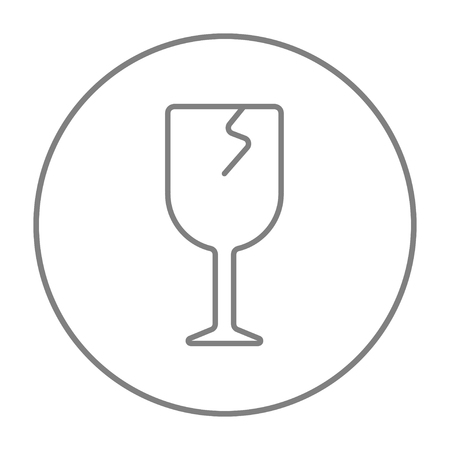 brittle: Cracked glass line icon for web, mobile and infographics. Vector grey thin line icon in the circle isolated on white background.