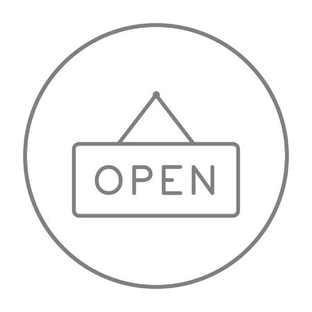 Aprire l'icona linea segno per il web, mobile e infografica. Vector grigio linea sottile icona nel cerchio isolato su sfondo bianco.