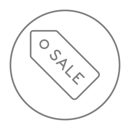 sell out: Sale tag line icon for web, mobile and infographics. Vector grey thin line icon in the circle isolated on white background.