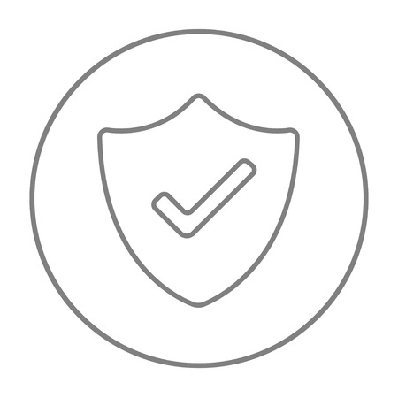 confirmed: Quality is confirmed sign line icon for web, mobile and infographics. Vector grey thin line icon in the circle isolated on white background.